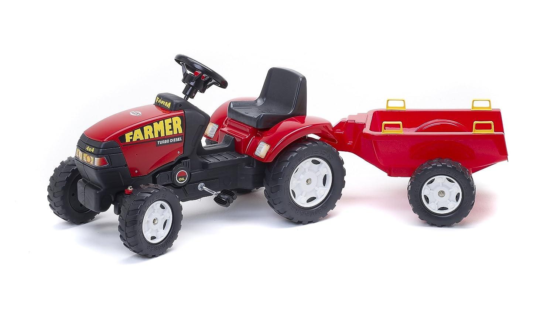 Falk 975A - Tractor a pedales con remolque, color rojo: Amazon.es: Juguetes y juegos