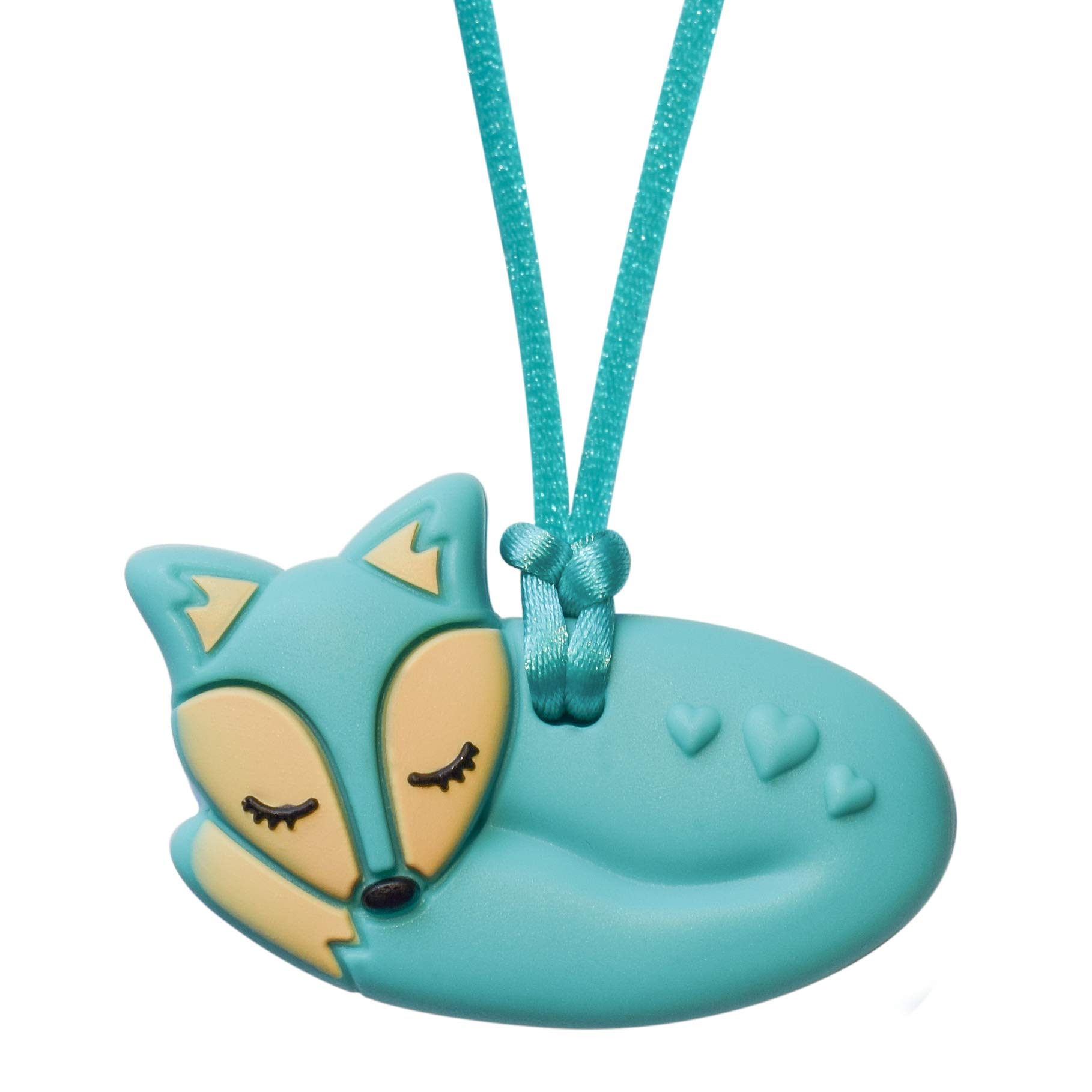 Aqua Fox - Sensory Oral Motor Aide Chewelry Necklace - Chewy Jewelry for Sensory-Focused Kids with Autism or Special Needs - Calms Kids and Reduces Biting/Chewing/Fidgeting