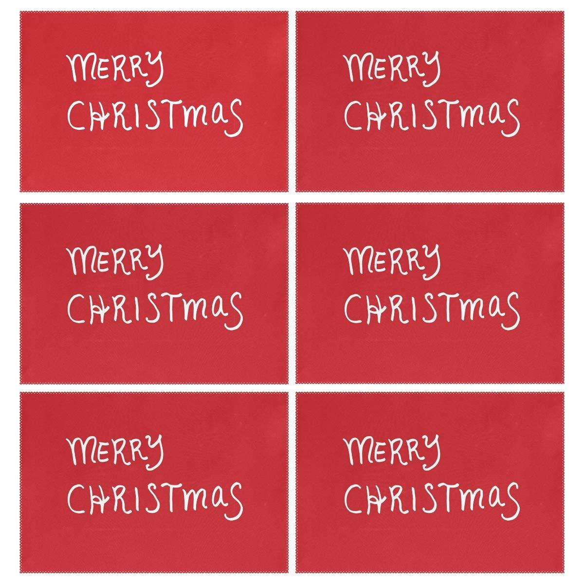クリスマスサンタブループレースマット 6枚セット 断熱プレースマット 子供 大人 キッチン ダイニングテーブル 装飾 長方形 12 x 18 inches  カラー-2 B07JLYPD33