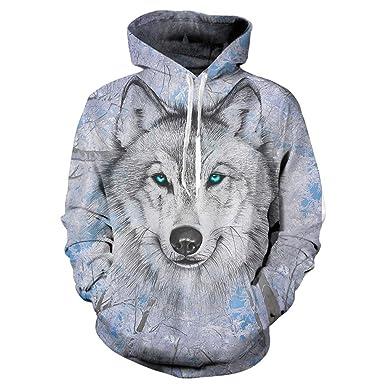 Wolf Hoodies 3D Print Sudadera con Capucha de Hombre Lobo Animal Hip Hop Sudadera con Bolsillos Grandes de Unisex: Amazon.es: Ropa y accesorios
