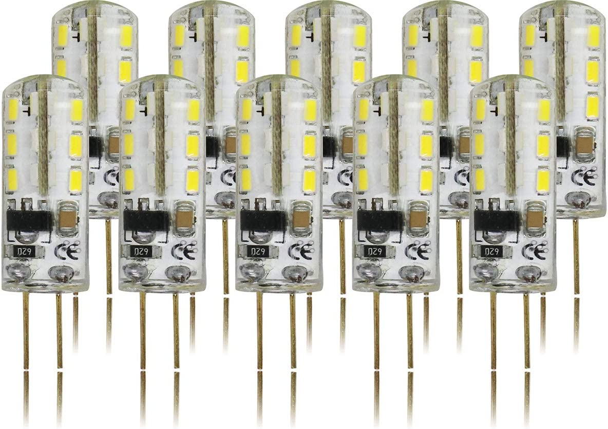 RClorBulb (Paquete de 10) 2W G4 Regulable 24 cuentas SMD 3014 LEDs Bombillas Blanco frío, CA 220 voltios, Lámparas halógenas equivalentes de 20 vatios