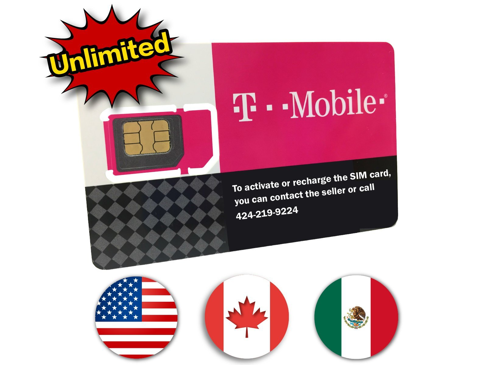 T-Mobile Prepaid SIM Card Unlimited Talk, Text, and Data (USA, Canada and Mexico) for 90 days