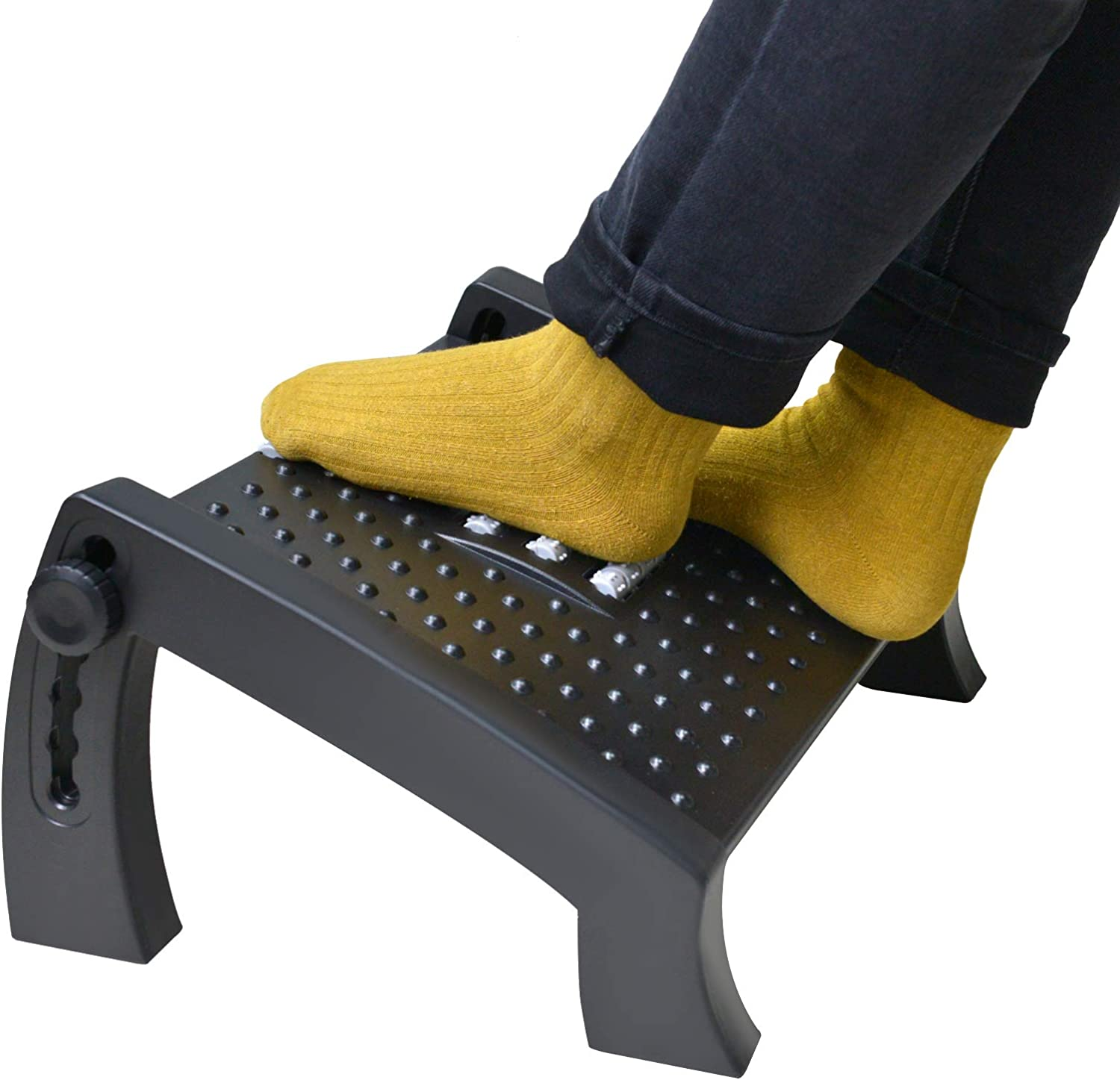 SurmountWay Adjustable Foot Rest for Under Desk at Work,Upgrade Widened Panel Office Footrest with Massage Texture and Roller,Ergonomic Foot with 6 Height Position, Max-Load 40Lbs Footrest for Home