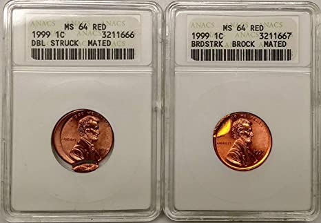 1999 Lincoln Penny Double Struck Mated Broadstruck Brockage