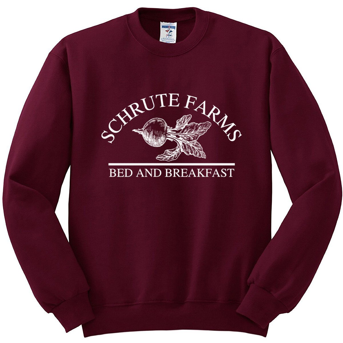 Nuff Said Schrute Farms Beets Bed and Breakfast Sweatshirt Sweater Pullover - Unisex (Medium, Maroon)