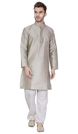 c241e68f43f0 Amazon.com  Kurta Pajama for Men Traditional Long Sleeve Indian Kurta  Pyjama Set Wedding Party Wear  Clothing