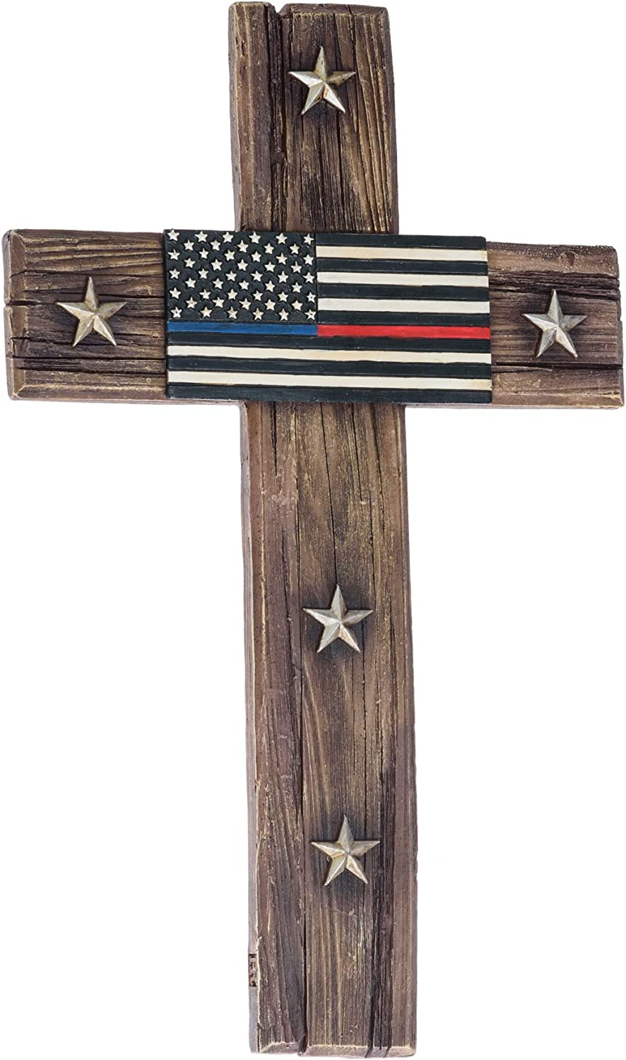 American Flag Design Cross Decor for Wall - US Flags Outdoor Inspirational Cross - Red Blue Cross Wall Home Decor and Gifts - Red Blue Line Cross Roman Catholic Crucifix