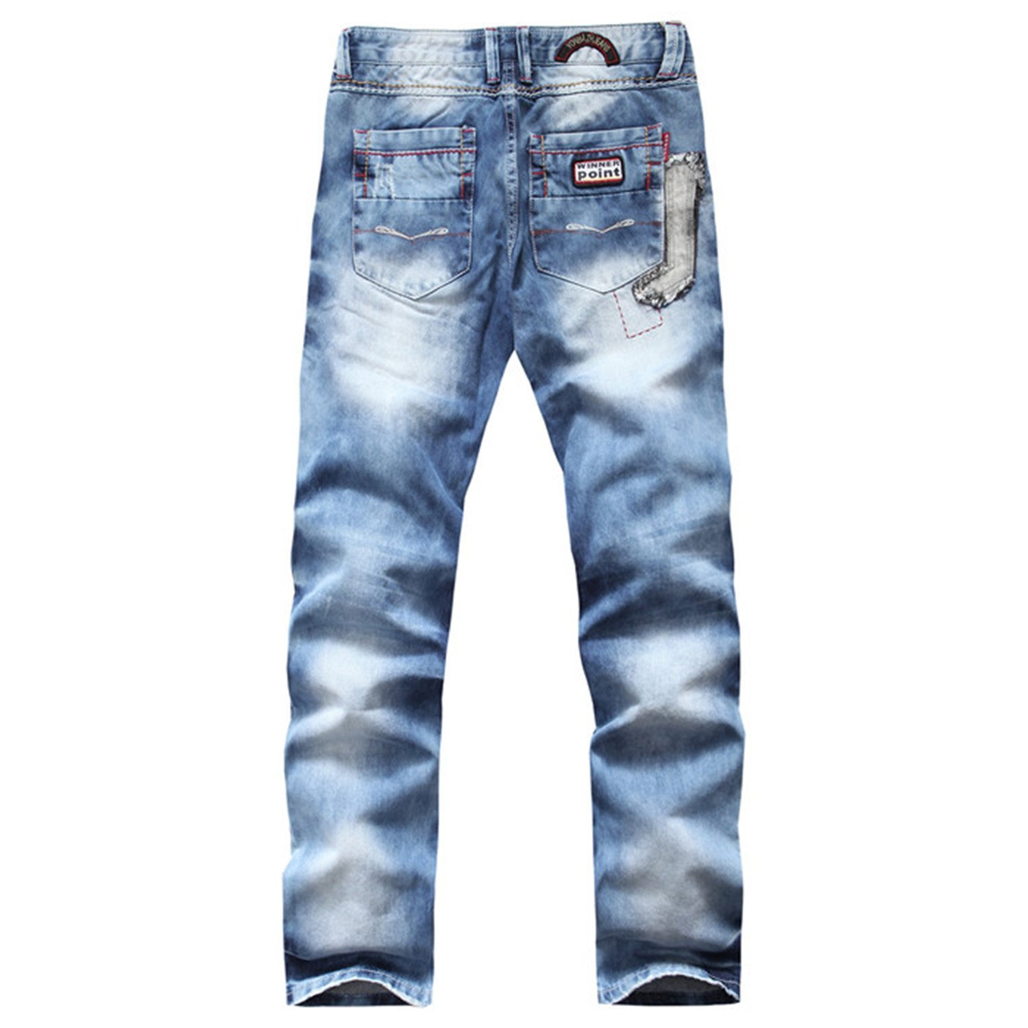 TOPING Fine Popular Clothing Style Hole Patch Jeans Autumn and Winter Fashion Men Straight beggar Trousers Blue Blue32