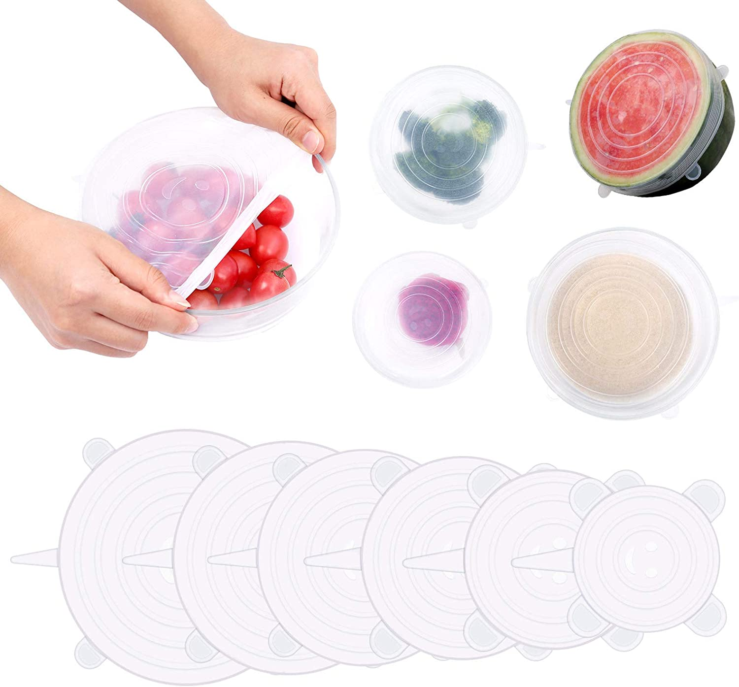 Silicone Stretch Lids Set of 6 Reusable Durable Food Storage Covers for Bowl 6 Sizes Silicone Covers Apply to Food Container for Freezer & Microwave