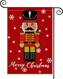 AVOIN Merry Christmas Nutcracker Garden Flag Vertical Double Sized, Winter Holiday Yard Outdoor Decoration 12.5 x 18 Inch