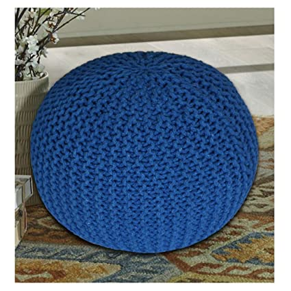TIB Cotton Knitted Pouf (Golden, 15x15x14-inch)