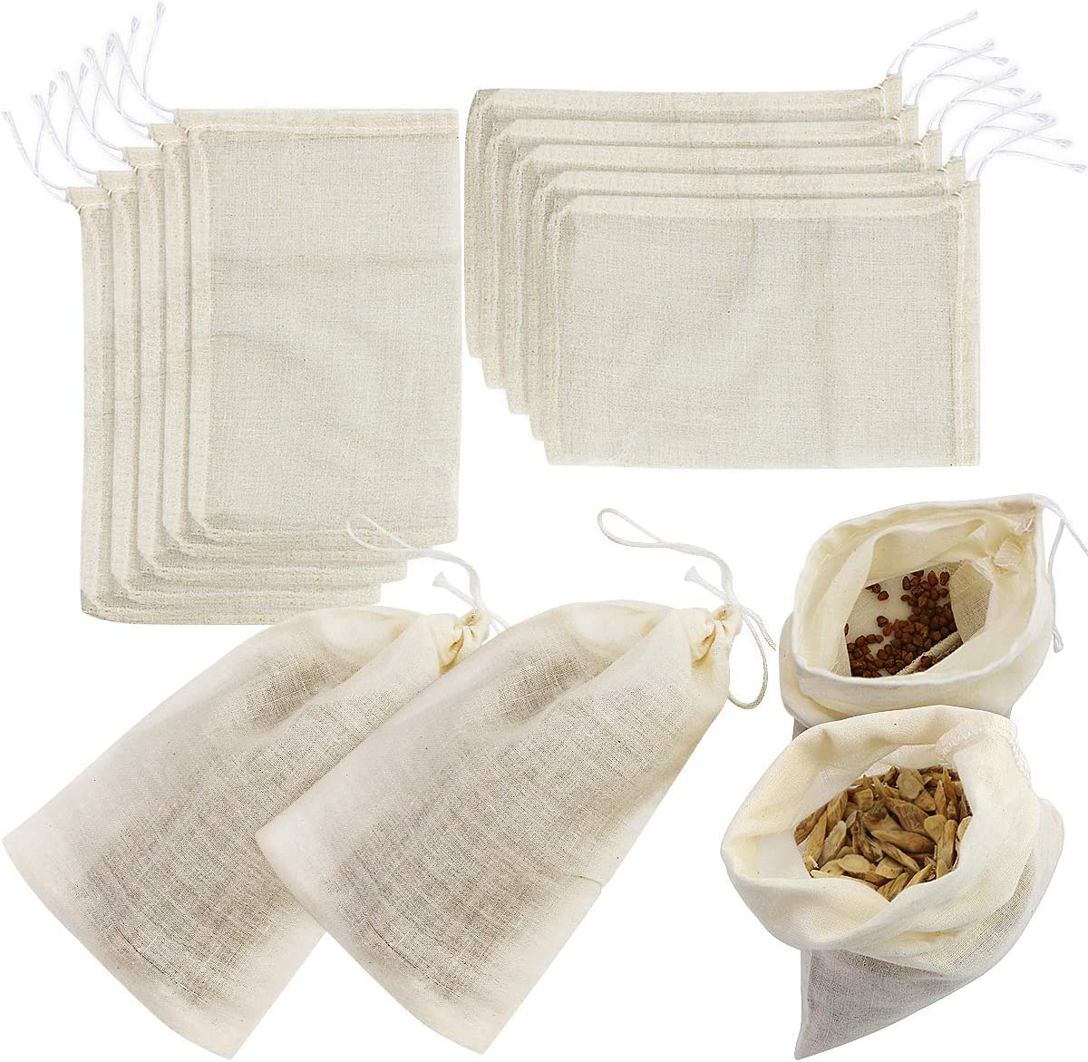 Weoxpr 24 Pieces Reusable Drawstring Soup Bags - 4 x 6 inch Straining Cheesecloth Bags, Cotton Coffee Tea Brew Bags, Soup Gravy Broth Brew Bags, Herbs Sachets, Muslin Bags for for Home Kitchen Use