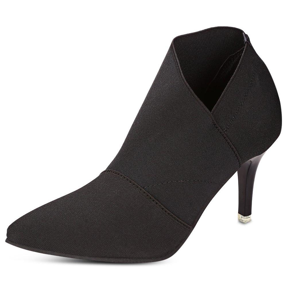 Yahuyaka Damenmode Schuhe mit hohen Absätzen Spitze dünne Slip-on-Stiefeletten (Farbe   schwarz Größe   36)