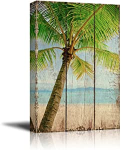 wall26 - Palm Tree on an Island by The Shore Over Wooden Panels - Nature - Canvas Art Home Art - 16x24 inches
