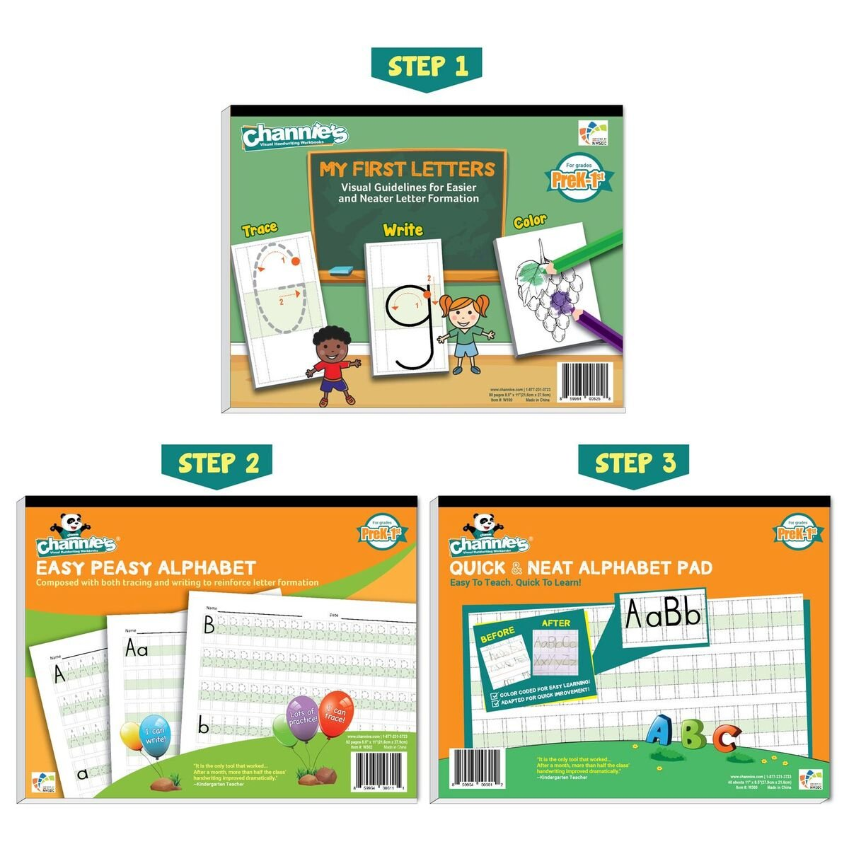 Channie's Beginner's Alphabet & Handwriting workbooks, 3 workbooks, lots practices with visual format. Easier way to learn Alphabet by Channie's