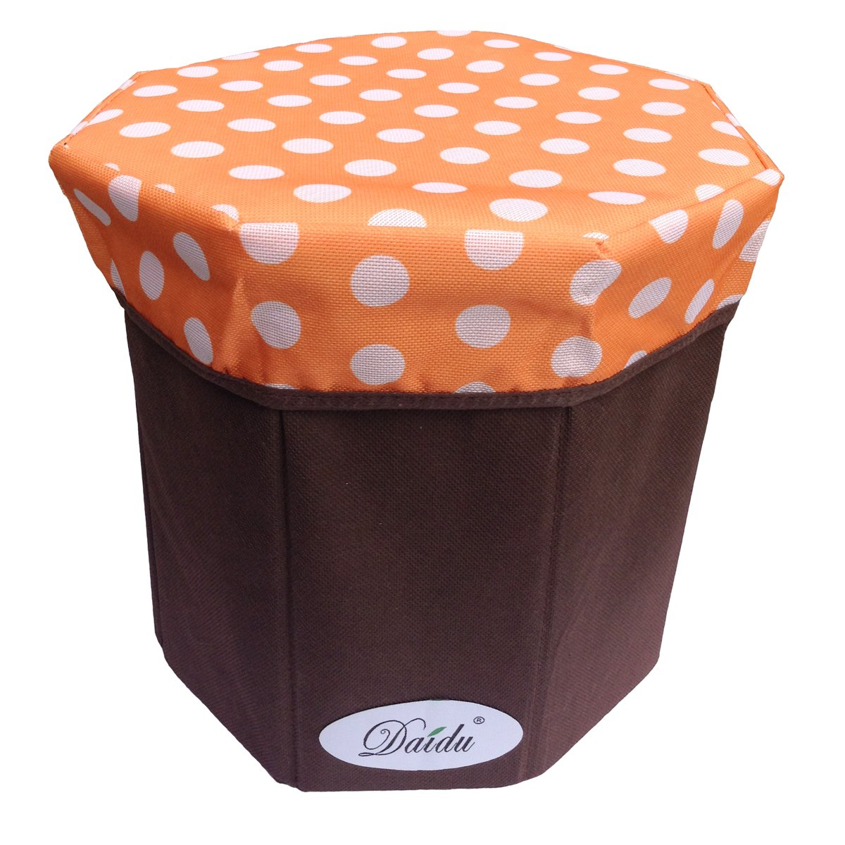 Daidu Non-Woven Fabric Foldable Storage Bin Box Organizer Ottoman Stool 9.8 x 9.8 x 9.8 inches Kid Student Pupil Desk Bedroom Dorm,Orange