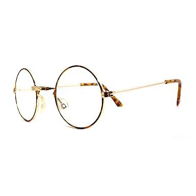 fda48d54d5 Amazon.com  JOHN LENNON Vintage Retro Round Metal Frame Clear Lens Eye Glasses  GOLD TORTOISE  Clothing