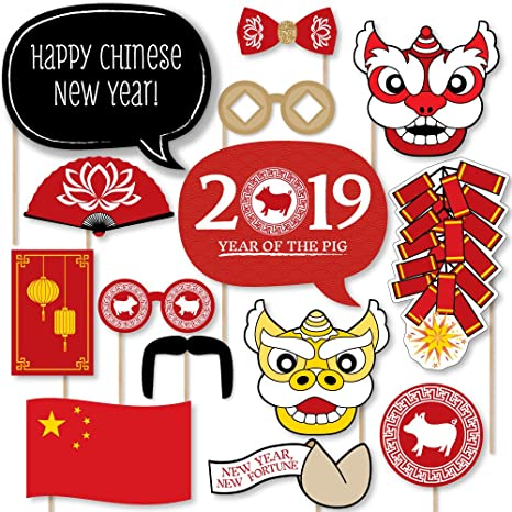 chinese new year 2019 year the pig photo booth props kit 20 count