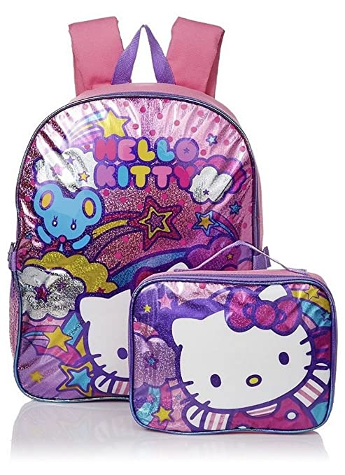 bdc6ce4fd Amazon.com | Hello Kitty Girls' Stars and Clouds 15 Inch Backpack with Lunch  Kit, Pink/Purple | Kids' Backpacks
