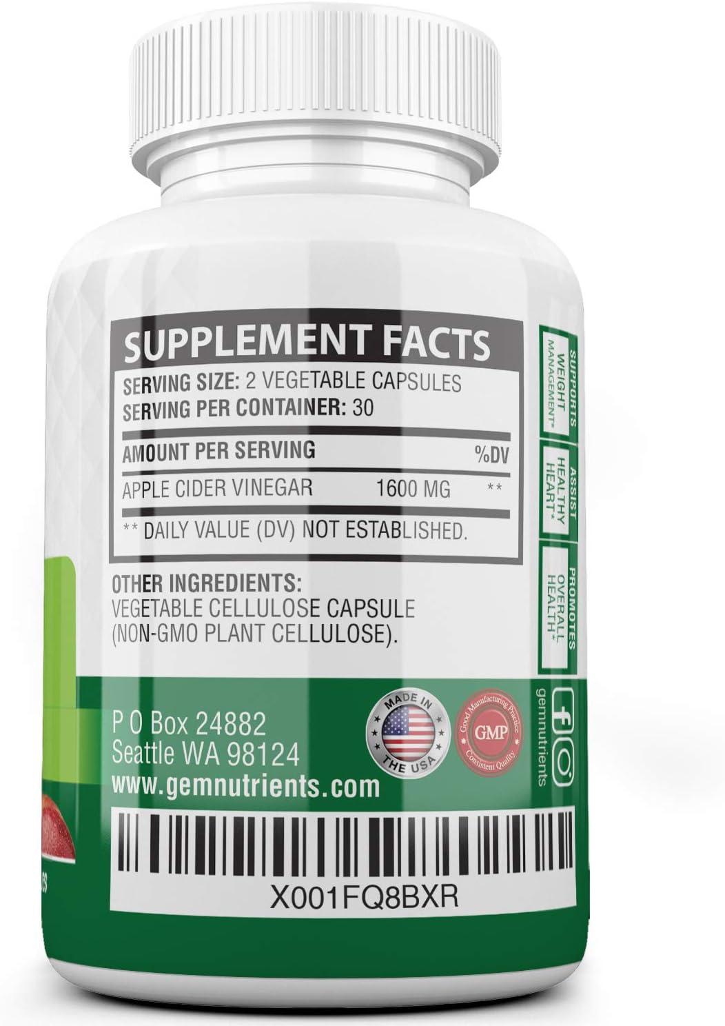 Apple Cider Vinegar Capsules (60 Capsules | 1600 mg) Apple