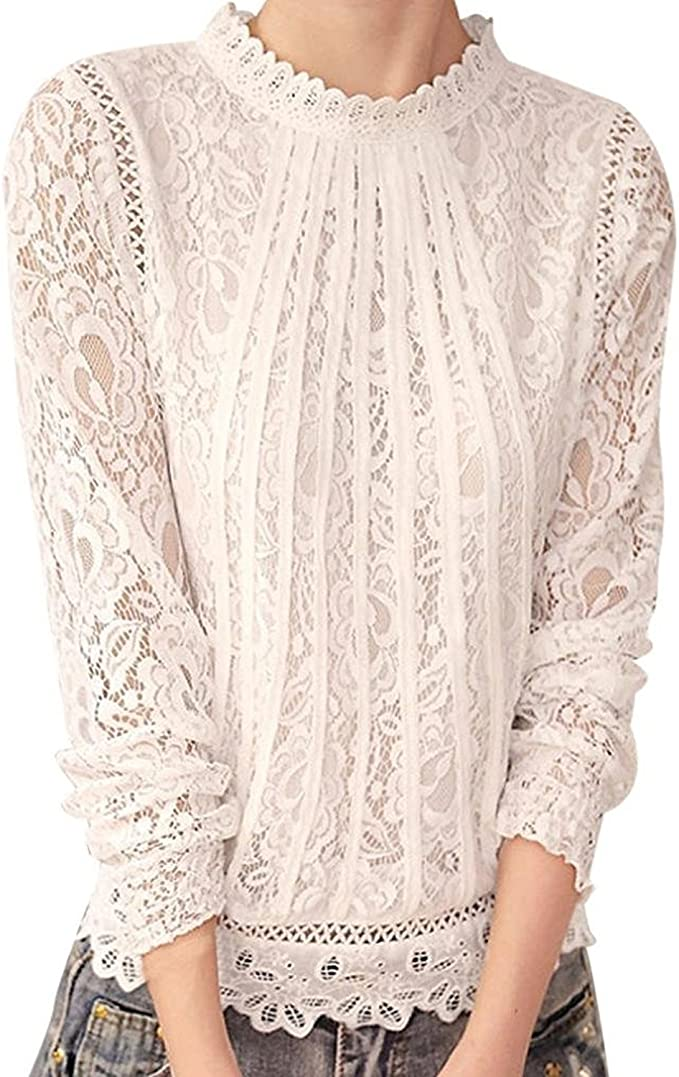 1900 -1910s Edwardian Fashion, Clothing & Costumes TUDUZ Women Elegant Solid Long Sleeve O Neck Lace Casual Jumper Tops Blouse T-Shirt £9.98 AT vintagedancer.com