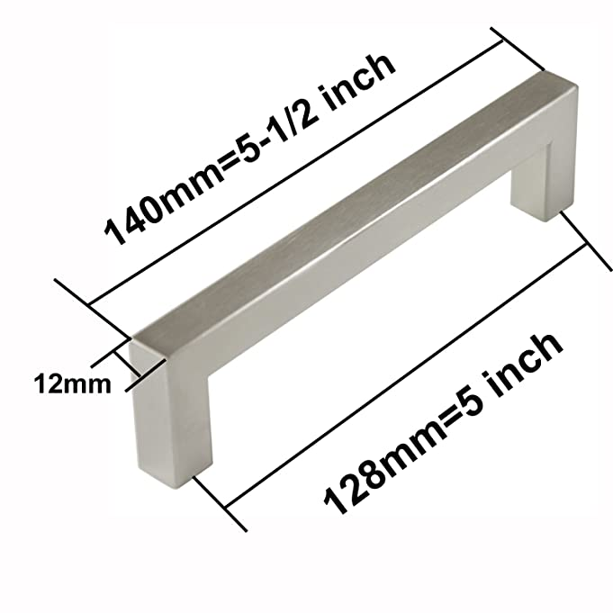 probrico kitchen cupboard handles and pulls 5in holes centers stainless steel cabinet drawer handles brushed nickel 55 in total length 5 pack amazon