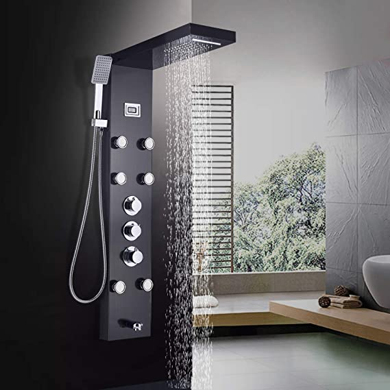JUNSHENG - Columna de ducha termostática con alcachofa de lluvia e ...