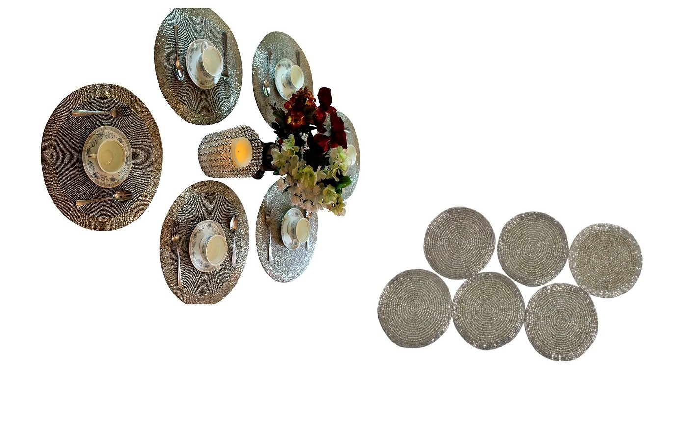 Silver Finish Glass Beads Braided Round Tabletop Decor Placemats and Coasters Set of 12 by GARIAN