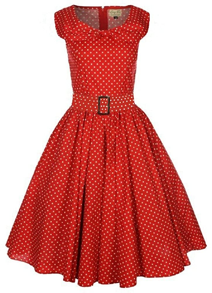 fd81229859a0 Lindy Bop 'Hetty' Red Polka Dot Bow Shawl Collar Vintage 1950's Rockabilly  Swing Party Dress (26): Amazon.co.uk: Clothing