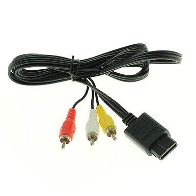 More Power + - Cable de vídeo y audio para Nintendo SNES/Super Nintendo/Super Famicom/N64/Gamecube AV con conectores RCA, color blanco