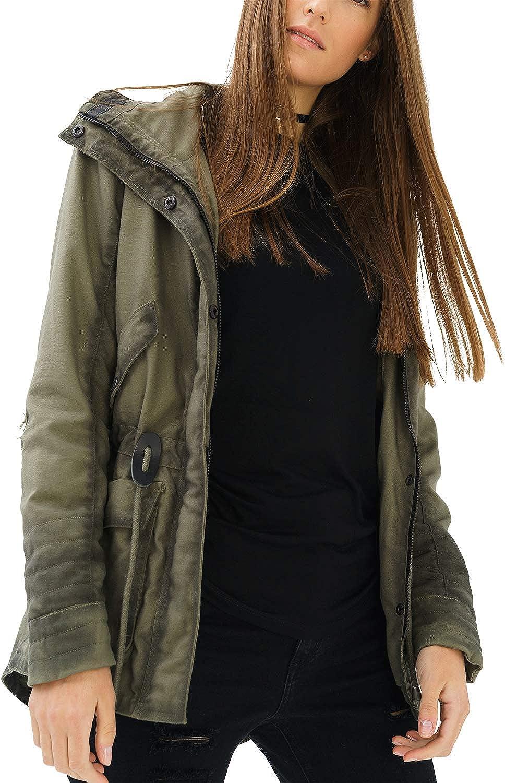 trueprodigy Casual Mujer Marca Chaqueta Parka Basico Ropa Retro Vintage Rock Vestir Moda Deportivo Slim Fit Designer Fashion Jacket con Detalles de Cuero