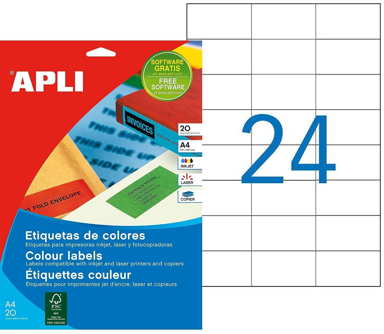 APLI 1224 - Etiquetas translúcidas imprimibles (70,0 x 37,0 ...