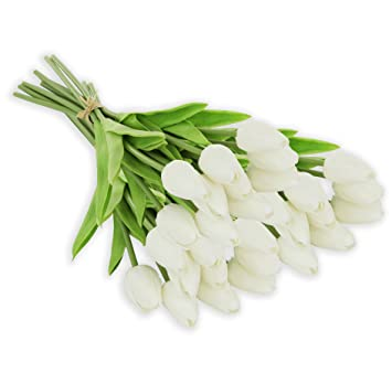 Ezflowery 30 Heads Artificial Tulips Flowers Real Touch Arrangement Bouquet For Home Room Office Party Wedding Decoration, Excellent Gift Idea For Mothers Day (30, White) by Ezflowery