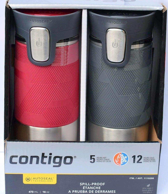 1 Black Steel CONTIGO Mug Autoseal Spill Proof Stainless Thermal Travel 473ml BN