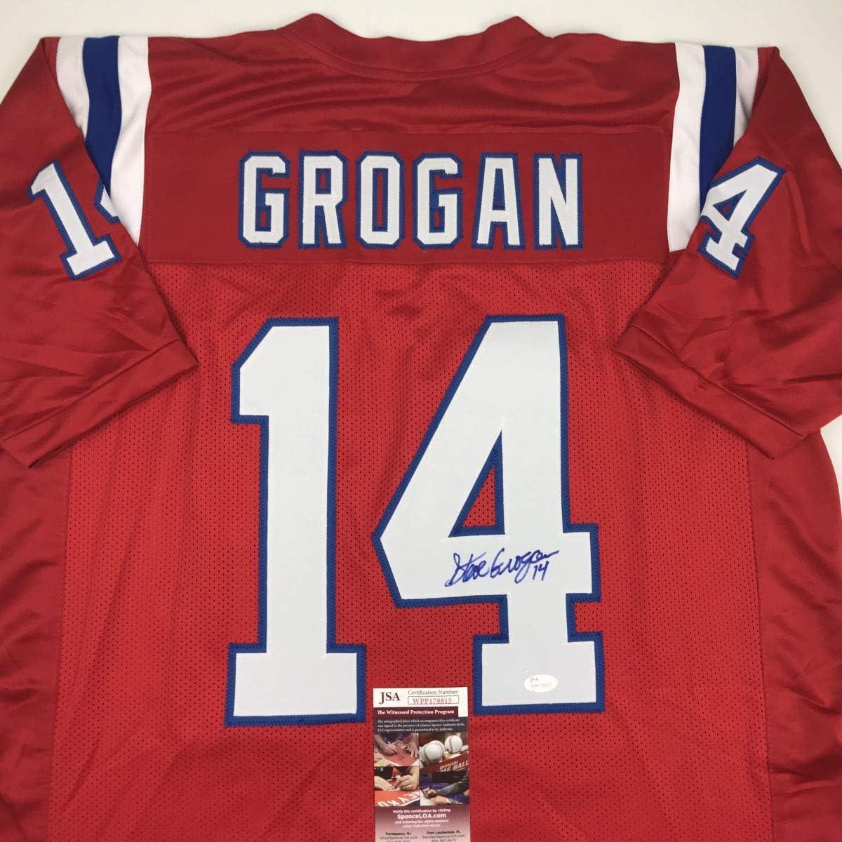 Autographed/Signed Steve Grogan New England Red Football Jersey JSA COA