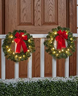 the lakeside collection set of 2 remote controlled outdoor wreath