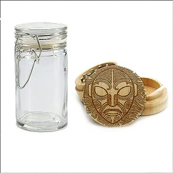 Máscara de Tiki de hombre grabado en madera de molinillo, molinillo de personalizado con un