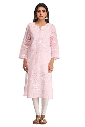 ca5e0b5e8f195 ADA Lucknow Chikankari Handcrafted Womens Cotton Kurta Kurti  (A236471_Pink): Amazon.in: Clothing & Accessories