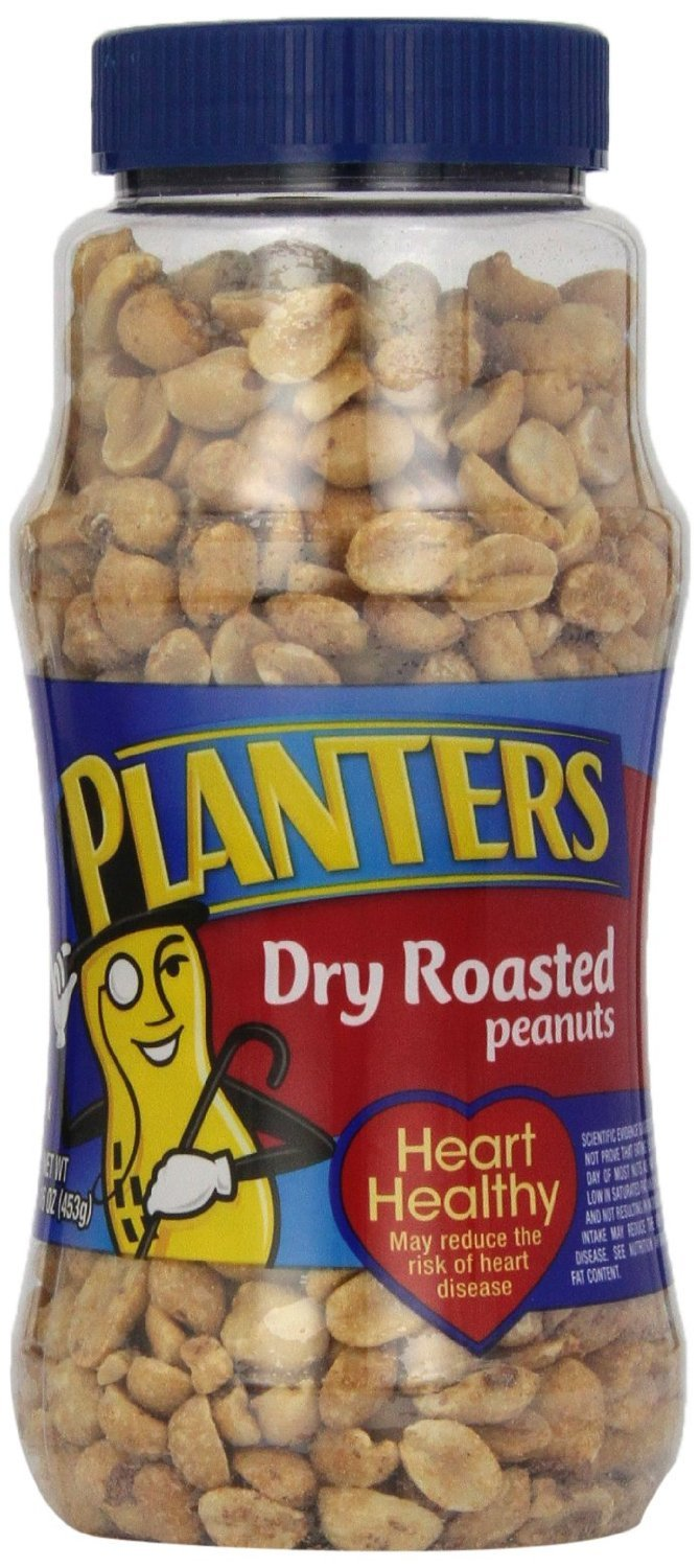 Planters Peanuts, Dry Roasted, 16 Ounce Jars (Pack of 6)