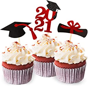 Class of 2021 Red Glitter Graduation Cupcake Topper, Food/Appetizer Picks for Graduation Party (24pcs)