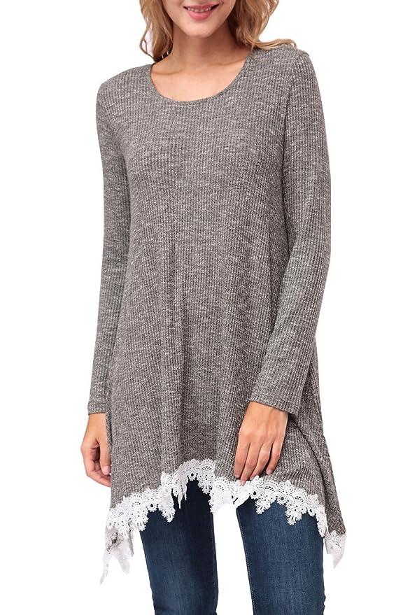 Kranda Womens Tunic Sweater Lace Stitching Trim Long Sleeve Sweater
