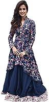 Muta Fashions Blue Net Women's Semi-Stitched Gown (Semi-Stitched Gown00063__10_Free Size)