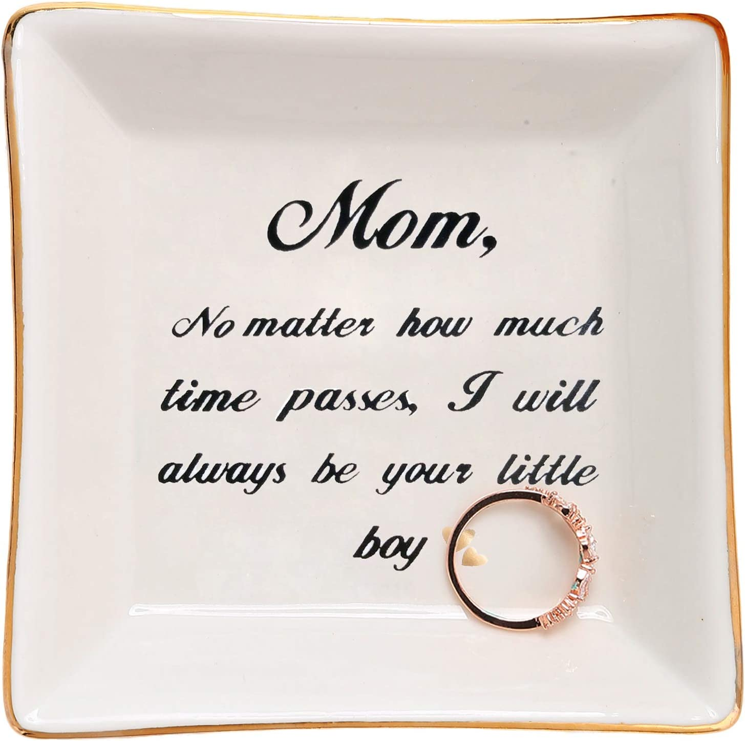 HOME SMILE Mom Gifts from Son Ring Trinket Dish-Mom,No Matter How Much Times Pass,I Will Always Be Your Little Boy