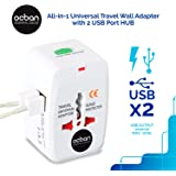 All in One Universal Travel Wall Adapter AC Power AU UK US EU Plug Adapter White Kit 2 USB Port HUB Surge Protector + 150 Countries Secure Safety Protect Portability Lightweight Top GREAT PRICE OCBAN