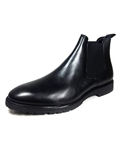 aeca31bb16f Zara Men's Black Leather Ankle Boots with Track Soles 5699/302 ...