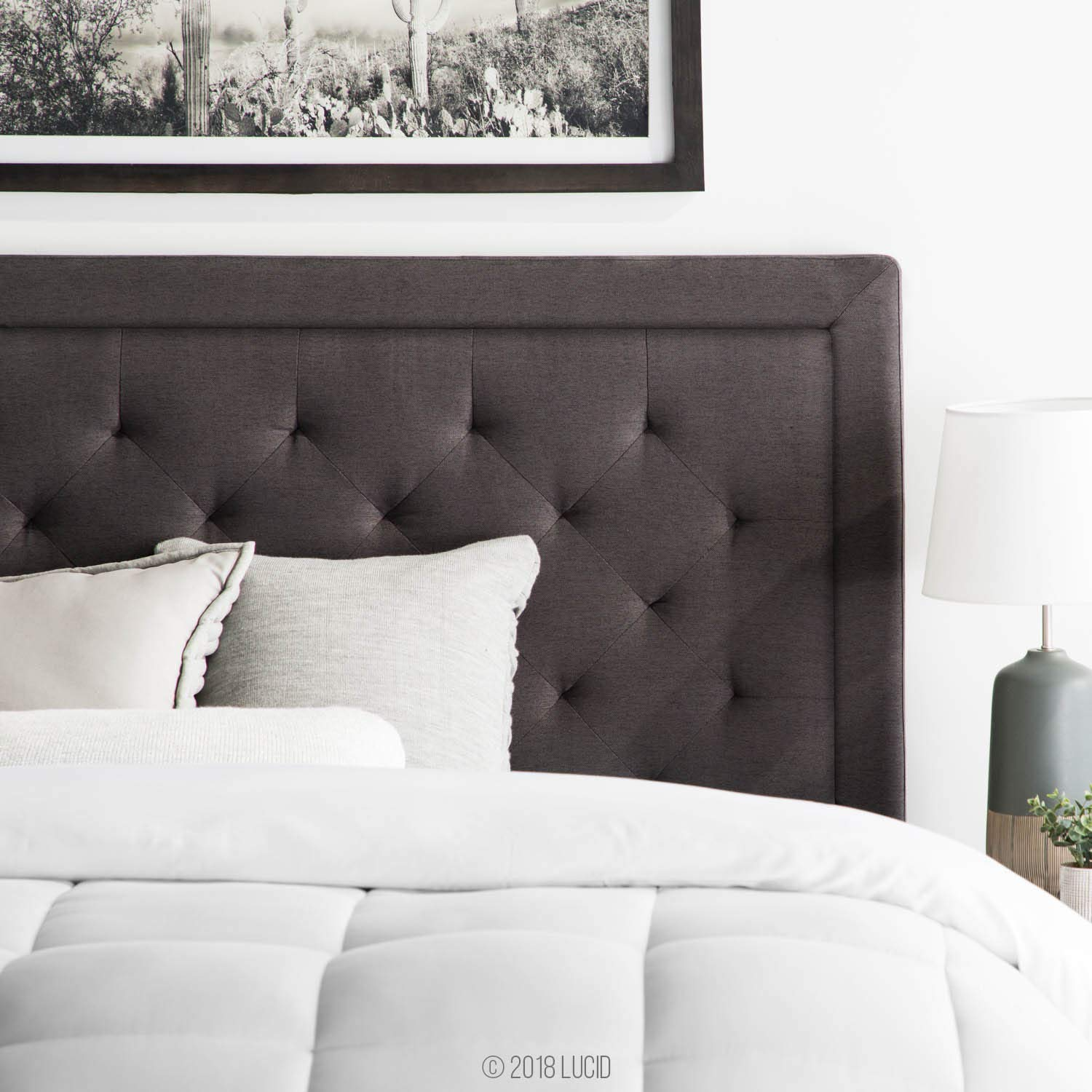 LUCID Bordered Upholstered Headboard with Diamond Tufting, Queen, Charcoal by LUCID