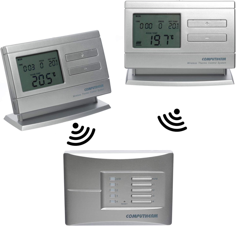 COMPUTHERM Q8RF Multi-Zona: 2 x termostatos digitales programables inalámbricos & 1 regulador móvil para calefacción, aire acondocionado y suelo radiante