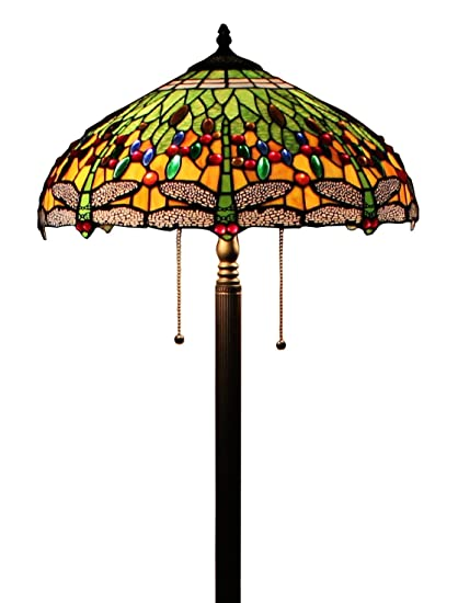 Tiffany style dragonfly green floor lamp 64 inch by 18 inch tiffany style dragonfly green floor lamp 64 inch by 18 inch aloadofball Image collections