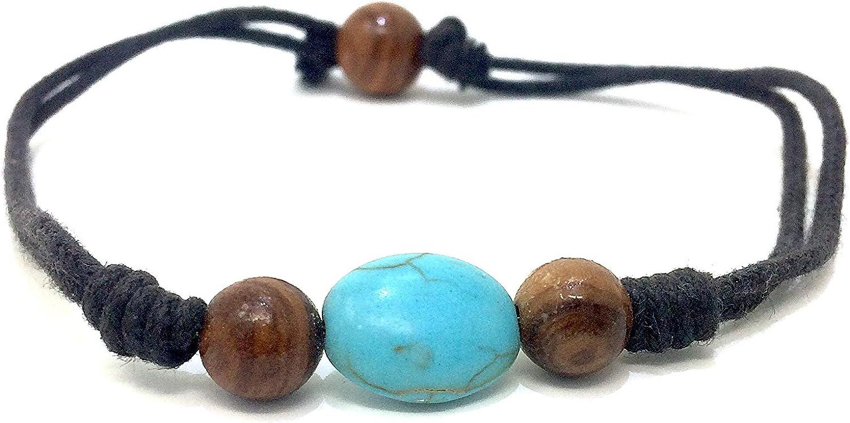 Pulsera de cuentas de madera de olivo genuina de 10 mm con turquesa, piedra preciosa oval de 8 mm hecha a mano, producto natural de España