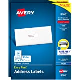 "Avery Address Labels with Sure Feed for Inkjet Printers, 1"" x 2-5/8"", 1,500 Labels, Permanent Adhesive (2 packs 8160)"